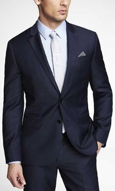 NAVY MICRO TWILL PHOTOGRAPHER SUIT JACKET from EXPRESS