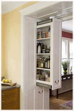 Fascinating Hidden Storage Ideas For Best Kitchen Design Ideas Kitchen Pantry Doors, Diy Kitchen Cabinets, Kitchen Cabinet Organization, Kitchen Paint, Home Decor Kitchen, Kitchen Furniture, New Kitchen, Kitchen Ideas, Kitchen Remodeling