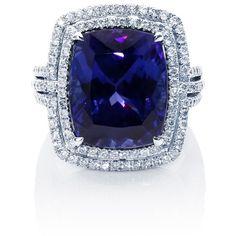 NIGHT VIOLETS TANZANITE DIAMOND RING ($17,035) ❤ liked on Polyvore
