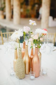 39 Cheap Wedding Decorations Which Look Chic ❤ cheap wedding decorations gold bottles Photo By Julieta #weddingforward #wedding #bride