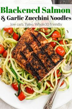Blackened Salmon with Garlic Zucchini Noodles is a tasty low carb, Paleo, and friendly meal that's ready in under 30 minutes. Blackened Salmon with Garlic Zucchini Noodles is a tasty low carb, Paleo, and friendly meal that's ready in under 30 minutes. Zucchini Noodle Recipes, Healthy Salmon Recipes, Zucchini Noodles, Garlic Noodles, Healthy Meals, Healthy Eating, Zucchini Lasagne, Diet Meals, Healthy Options