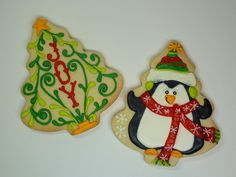 """I know these are cookies.  But, they're cute enough to qualify as """"illustrations""""!  (penguin and tree with two tones of green on tree)"""