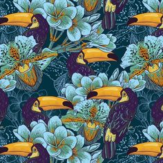 Wallpaper Tropical seamless parrern with flowers and Toucan