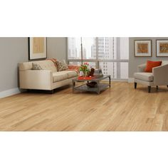 allen + roth 5.98-in W x 3.95-ft L Golden Butterscotch Embossed Wood ...