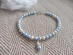 Light Blue Swarovski Pearl Choker Necklace with heart toggle. Traditional Pearl bridal jewellery. Something blue necklace. Swarovski pearls by HazelsWeddingShop on Etsy