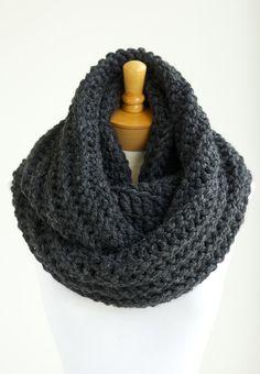Oversized chunky crochet scarf in CHARCOAL GRAY / dark gray, extra long infinity scarves, men's scarves. $55.00, via Etsy.