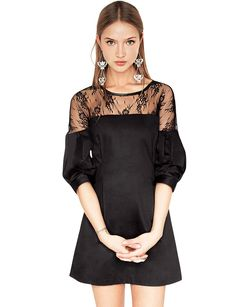 Black lace party dress - lace bubble sleeve dress - $78