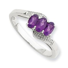 Sterling Silver Rhodium Amethyst & Diamond Ring Size 8