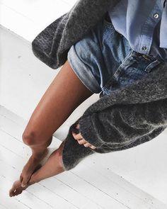Denim shorts + blouse + cardigan // balanced outfit