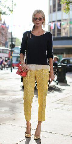 Poppy Delevigne #yellow pants #giallo