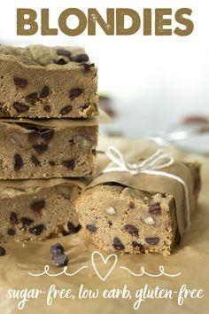 Chocolate Chip Blondies - Sugar-free, Low Carb, Keto Friendly & Gluten-free | super dense, gooey & delicious! www.tasteaholics.com