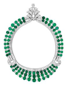 """Emerald of the Day this Month of May:  A 1938 piece from """"Set in Style: The Jewelry of Van Cleef & Arpels,"""" the Cooper-Hewitt exhibit curated by Sarah Coffin, designed by Patrick Jouin and running through July 4, 2011. This spectacular emerald, diamond and platinum necklace is on loan from a private collection."""