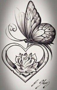 heart shape butterfly tattoo design tattoos tattoos, butterfly - rose and butterfly drawing Rose And Butterfly Tattoo, Butterfly Drawing, Butterfly Tattoo Designs, Butterfly Wings, Rose Heart Tattoo, Butterfly Tattoos For Women, Feather Drawing, Simple Butterfly, Flower Drawings
