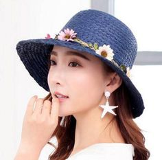 7e4329b5e0f Sweet flower straw sun hats for ladies summer bucket hat