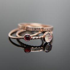 Drei 14 k rose gold Edelstein Stapeln Ringe von MissNovemberStudio, $350.00