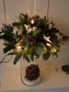Even vlug ,tussen alle drukte door ,een ideetje voor een kerststuk.         Als je bovenop een glazen vaas een waterschotel zet ,en da... Christmas Arrangements, Christmas Centerpieces, Flower Centerpieces, Xmas Decorations, Flower Decorations, Flower Arrangements, Nordic Christmas, Christmas Signs, Outdoor Christmas