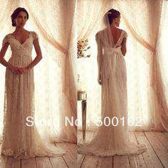 Online Shop Glamorous V Neck Beaded Cap Sleeve Empire Maternity Wedding Dresses|Aliexpress Mobile