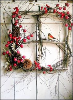 Rustic Christmas window wreath with berries and bird. (old windows from rental house) Noel Christmas, Country Christmas, Winter Christmas, Outdoor Christmas, Christmas Ornament, Christmas Berries, Christmas Images, Christmas Branches, Christmas Windows