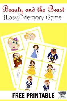 An easy free printable Beauty and the Beast memory game for kids.