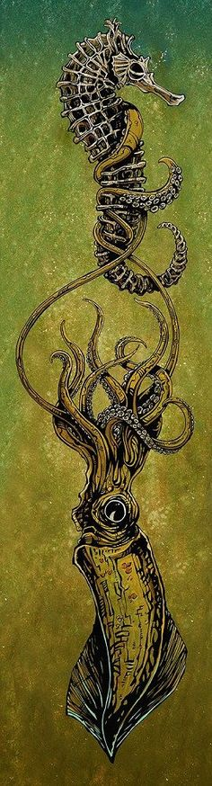 From the Deep by David Lozeau Giant Squid & Seahorse Canvas Art Print – moodswingsonthenet