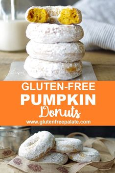 Learn to make tender gluten free pumpkin donuts with a few simple steps. With their pleasing texture and scrumptious pumpkin flavor, this Gluten-Free Pumpkin Donut Recipe will be a new favorite in your house year-round. Gluten Free Pumpkin Donut Recipe, Easy Donut Recipe, Gluten Free Donuts, Gluten Free Treats, Donut Recipes, Gluten Free Desserts, Free Recipes, Pumpkin Recipes, Pizza Sin Gluten
