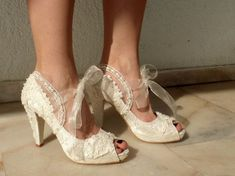 Embroidered Lace Bridal Shoes with Pearls in Peep Toes- Elegant Wedding Shoes Bling Wedding Shoes, Lace Bridal Shoes, Colorful Wedding Shoes, Wedding Wedges, Wedge Wedding Shoes, Ivory Lace Wedding Dress, Bride Shoes, Low Heel Bridal Shoes, Peep Toes