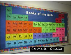 Sunday school bulletin board - books of the Bible done in the style of the periodic table of the elements.  This one works well with science themed VBS programs and curriculum.
