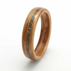 Eco Wood Rings. Oak ring with inlay of turquoise and granite