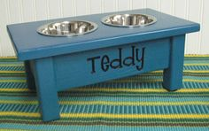 Custom Elevated  Dog or Cat Feeder Turquoise by woodzcreations, $38.95
