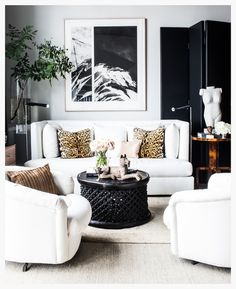 black folding screen in black and white room with animal print