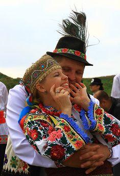 Lovely Hutsul Couple, W Ukraine, from Iryna Polish Embroidery, Flower Head Wreaths, Ethno Style, Ukrainian Art, We Are The World, Folk Fashion, My Heritage, Folk Costume, Festival Wear