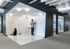 This is a SICK whiteboarding space. Could imagine impromptu design sessions and product meetings happening in a space like this.