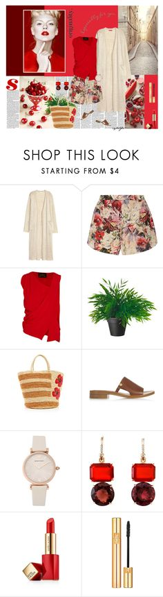 """Cherry"" by cybelfee ❤ liked on Polyvore featuring Poesia, H&M, Haute Hippie, Vivienne Westwood Anglomania, Sensi Studio, Chloé, Emporio Armani, Irene Neuwirth, Estée Lauder and Yves Saint Laurent"