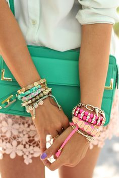 Not only are the bracelets gorgeous, but I love that handbag, too! Teal can be a great statement color in an outfit, especially if its an accessory statement.