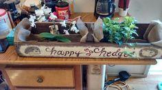 $20 refurbished and handcrafted, wooden  hedgehog planter for home/garden decor