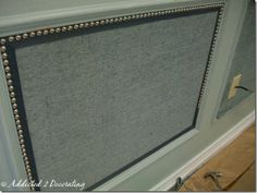 upholstered nailhead trimmed wall panel tutorial