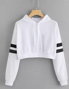 Cat Ear Casual Comfort Solid Long Sleeve Hoodie Sweatshirt Hooded Pullover Tops Roupas Color white Size S Teen Fashion Outfits, Swag Outfits, Outfits For Teens, Ladies Fashion, Women's Fashion, Cute Comfy Outfits, Cool Outfits, Trendy Outfits, Crop Top Hoodie