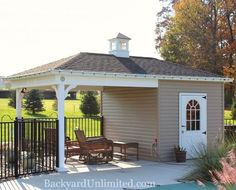 Hip Roof Poolhouse with Vinyl Siding and Cupola http://www.backyardunlimited.com/sheds/hip-roof-sheds