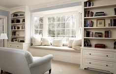 window seat and shelving