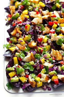 Rainbow Fish Taco Nachos