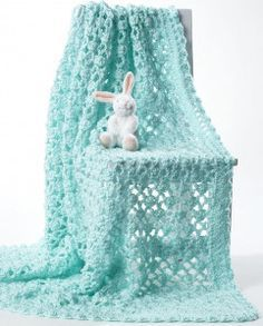 Lacy Eyelet Crochet Baby Blanket | AllFreeCrochetAfghanPatterns.com