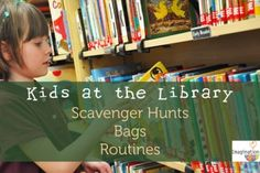Kids at the Library: Scavenger Hunts, Gear, & Routines (free printables!) for parents but might use the scavenger hunts for ECRR Library Games, Library Skills, Library Activities, Library Lessons, Library Books, Educational Activities, Library Ideas, Kids Library, Elementary School Library