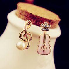 Pair Of Sweet Characteristic Musical Note & Guitar Shape Women's Asymmetric Earrings