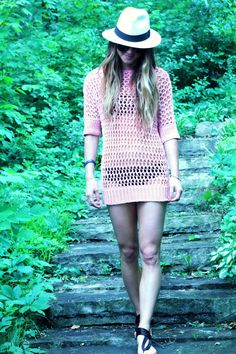 Knit Beach Cover up and Panama Hat