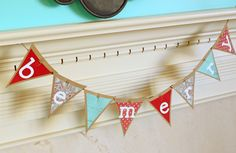 Christmas Garland Christmas Banner Turquoise Blue and Red Custom Personalized Holiday Bunting Banner Kraft Paper Christmas Card Photo Prop. $18.00, via Etsy.