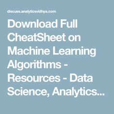 Free download artificial intelligence pdf 3rd edition book by download full cheatsheet on machine learning algorithms resources data science analytics and big fandeluxe Images