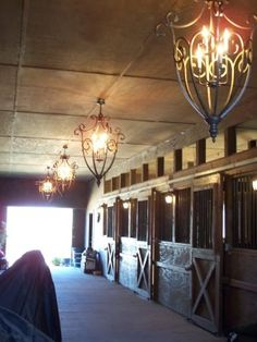 Pretty sure a horse person didn't do the decorating here... those light fixtures are an accident waiting to happen. o.o