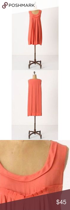 Anthropologie 'Sunbaked' Shift Dress Size Med Edme & Esyllte for Anthropologie 'Sunbaked Shift Dress' with slip.  Slightly sheer crepe forms a simple silhouette. Beautiful summer coral color and easy flattering fit. Has snaps inside to keep slip and bra in place. Adorable pleating detail at chest and eyelet cut out at hemline product details * Size medium * 100% viscose * Machine wash and dry  * Pullover style  * Like new condition * Pet free smoke free  Measurements taken flat ▫️Bust…