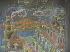 Waldorf ~ 5th grade ~ Ancient Mesopotamia ~ The Hanging Gardens of Babylon ~ chalkboard drawing