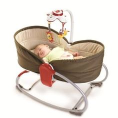 Tiny Love 3 in 1 Rocker Napper  converts from vibrating seat, bouncy seat to a bassinet.  I think this would be good to take with us places or as a place for baby to sleep on the first floor during the day